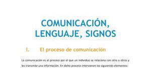 Comunicación, lenguaje, signos