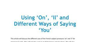 Using 'on', 'il', and 'you' in French
