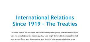 International relations since 1919: the treaties