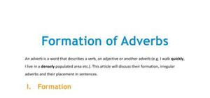 Formation of adverbs in French
