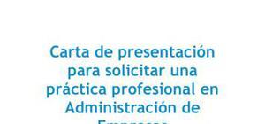 Carta de presentación para una práctica en administración de empresas