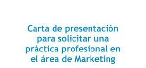 Carta de presentación para una práctica en marketing