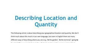 Describing location and quantity in French