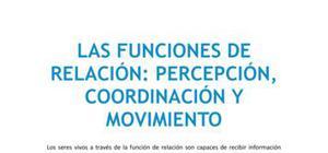Las funciones de relación : percepción, coordinación y movimiento