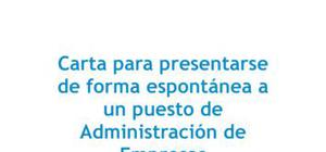 Carta de presentación Candidatura espontánea Administración de empresas