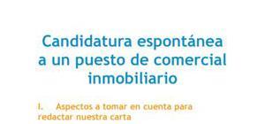 Carta de presentación Candidatura espontánea Comercial inmobiliario