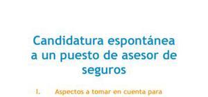 Carta de presentación Candidatura espontánea Asesor de seguros