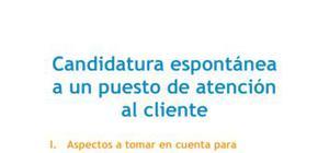 Carta de presentación Candidatura espontánea Atención al cliente
