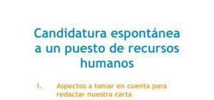 Carta de presentación Candidatura espontánea Recursos humanos