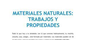 Materiales naturales : trabajos y propiedades