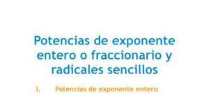 Potencias de exponente entero o fraccionario y radicales sencillos - Matemáticas