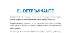 El determinante - Lengua - 1 de ESO