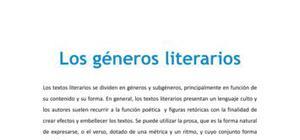 Los géneros literarios - Lengua - 1 de bachillerato