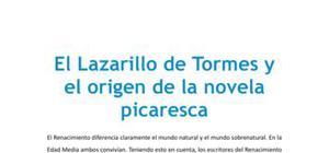 El Lazarillo de Tormes y el origen de la novela picaresca - Lengua y literatura - 1 de bachillerato