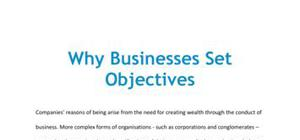 Why businesses set objectives - Business studies - AS level