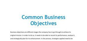 Common business objectives - Business studies - AS level