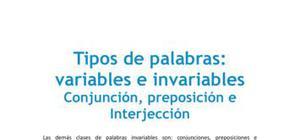 Tipos de palabras: conjunción, preposición e interjección - Lengua y literatura - 1 de bachillerato