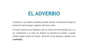 El adverbio - Lengua y literatura - 1 de bachillerato
