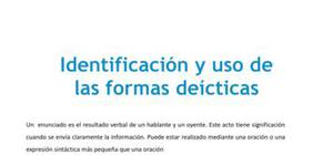 Identificación y uso de las formas deícticas - Lengua y literatura - 2 de ESO