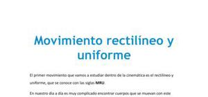 El movimiento rectilíneo uniforme - Física - 4 de ESO