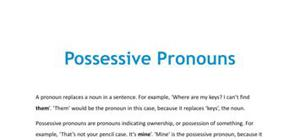 Possessive pronouns - French - GCSE and A level