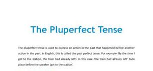 The pluperfect tense - French - GCSE and A level