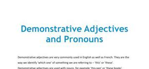 Demonstrative adjectives and demonstrative pronouns - French - GCSE and A level