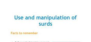 Use and manipulation of surds - Maths - AS level