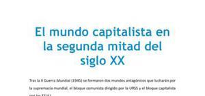 El mundo capitalista en la segunda mitad del siglo XX - Historia - 1 de bachillerato