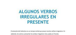 Verbos irregulares en presente - Francés - 1 de ESO