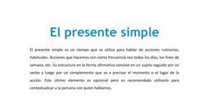 El presente simple - Inglés - 1 de ESO