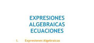 Expresiones algebraicas y ecuaciones - Matemáticas - 1 de ESO
