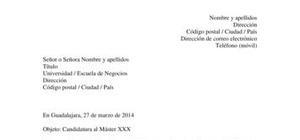 Modelo de carta de presentación para un máster o postgrado