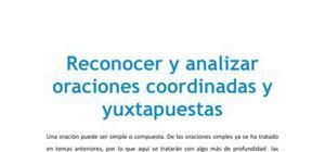 Reconocer y analizar oraciones coordinadas y yuxtapuestas - Lengua y literatura - 1 de bachillerato