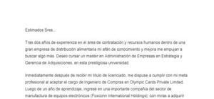 Ejemplo de carta de presentación para solicitar una plaza en MBA