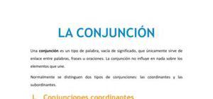 La conjunción - Lengua y literatura - 1 de ESO