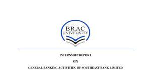 Internship report example on general banking activities