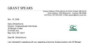 Internship cover letter sample