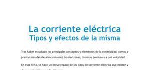 Tipos y efectos de la corriente eléctrica - Tecnología - 4 de ESO