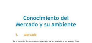 El conocimiento del mercado y su ambiente - Marketing - Grado