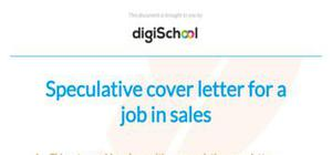 Speculative cover letter example for a job in sales
