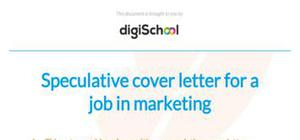 Speculative cover letter example for a job in marketing