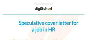Speculative cover letter example for a job in HR