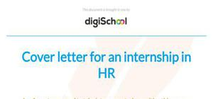 Cover letter for an internship in HR