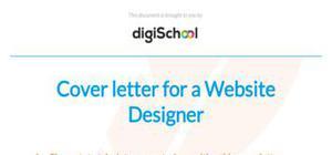 Cover letter for a web designer