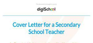 Cover letter secondary school teacher