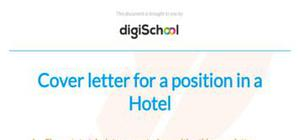 Cover letter for a hotel job
