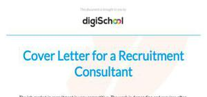 Cover letter for a recruitment consultant