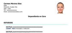 Modelo de currículum vitae Zara