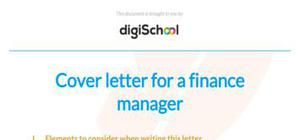 Finance manager cover letter sample